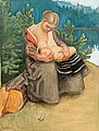 AKSELI GALLEN-KALLELA, A YOUNG WOMAN FEEDIN...