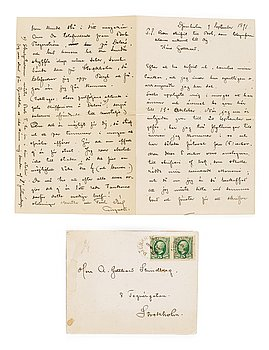 632. August Strindberg, letter, written by hand and signed at Djursholm September 9 1891.