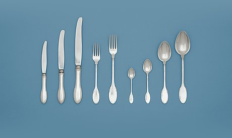 A set of 64 pcs of 'model f' flatware by w.a. bolin, stockholm, 1940's.