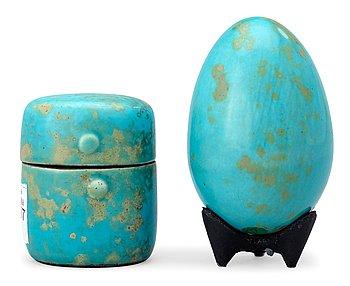 1011. HANS HEDBERG, ägg och ask med lock, Biot, Frankrike.