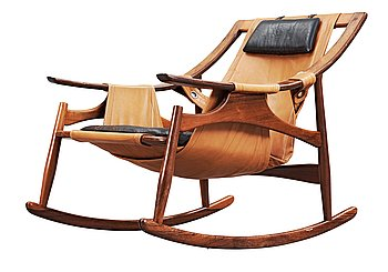 A palisander rocking chair attributed to Liceu de Artes, Brasil 1960's.