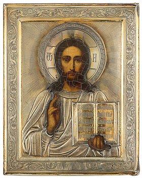 748. IKON, av Ivan Chlebnikov, Moskva 1908-1917. Hovleverantörsstämpel. Kristus Allhärskaren.