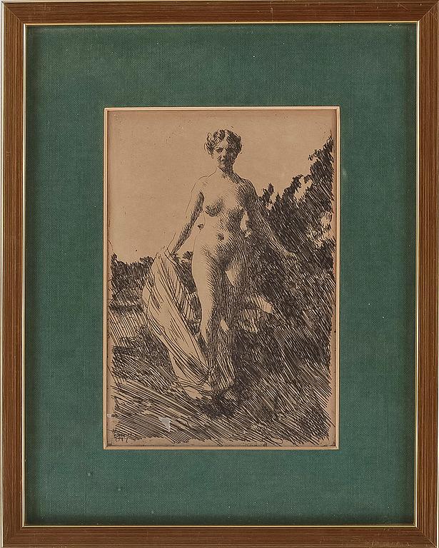 ANDERS ZORN, etsing, signerad o daterad i plåten 1907.