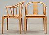 A pair of hans j wegner cherrywood and beige leather 'china chairs', fritz hansen, denmark 1988.