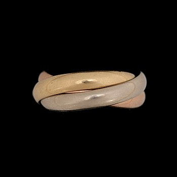 A Cartier, Trinity ring. 18k gold of three shades.  Size 18.5/58.