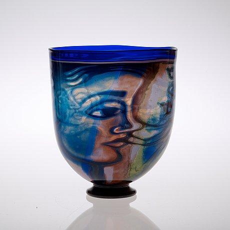 An eva englund 'graal' glass vase, orrefors 1988.