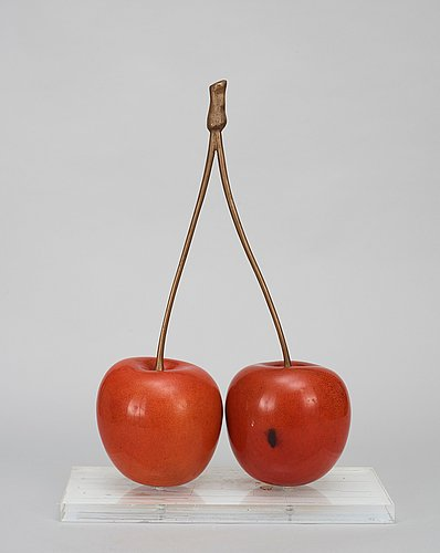 A hans hedberg faience and bronze sculpture of cherries, biot, france.