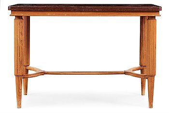 542. A Swedish Modern oak and limestone table, the top with engraved scenes, signed US, 1940's.