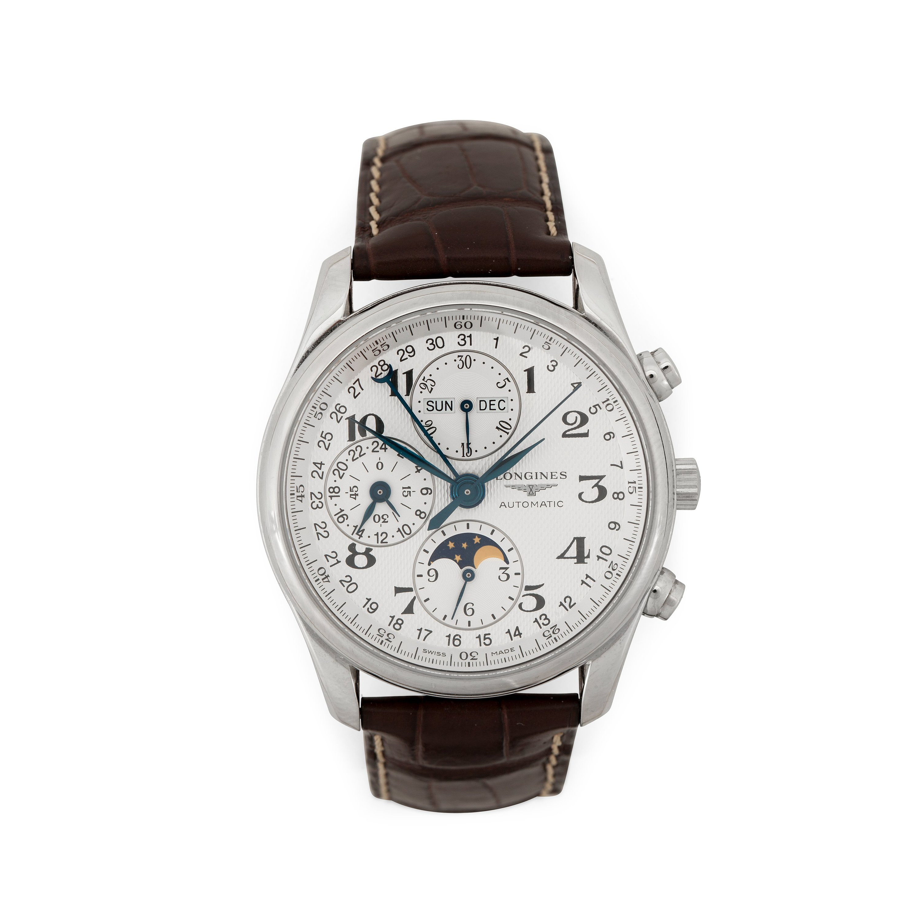 8118c6efebc Longines - Master Collection Chronograph Moonphase. Automatic. Steel    leather strap. 40mm.