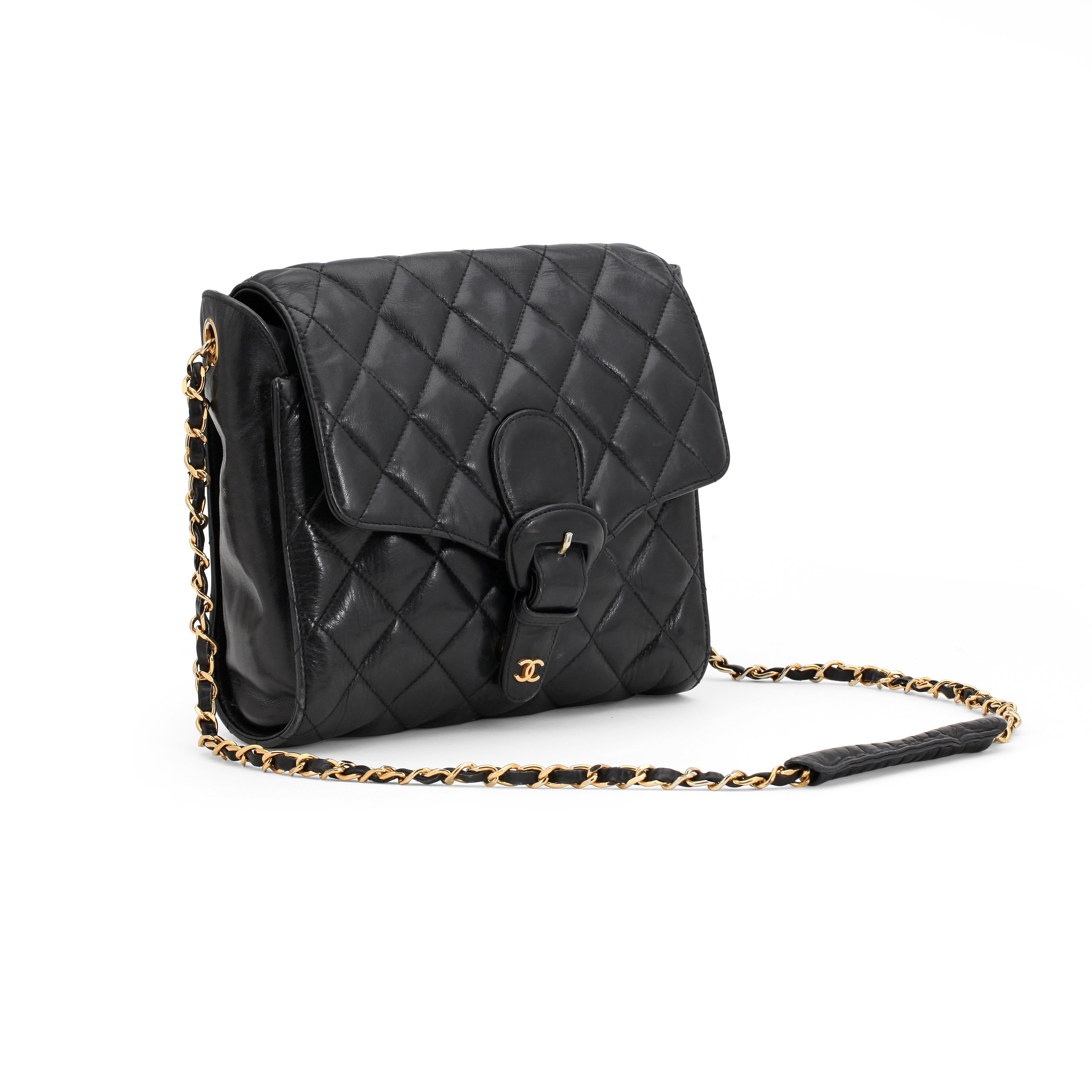 c0b781f893d5a6 CHANEL, a black quilted leather shoulder bag. - Bukowskis