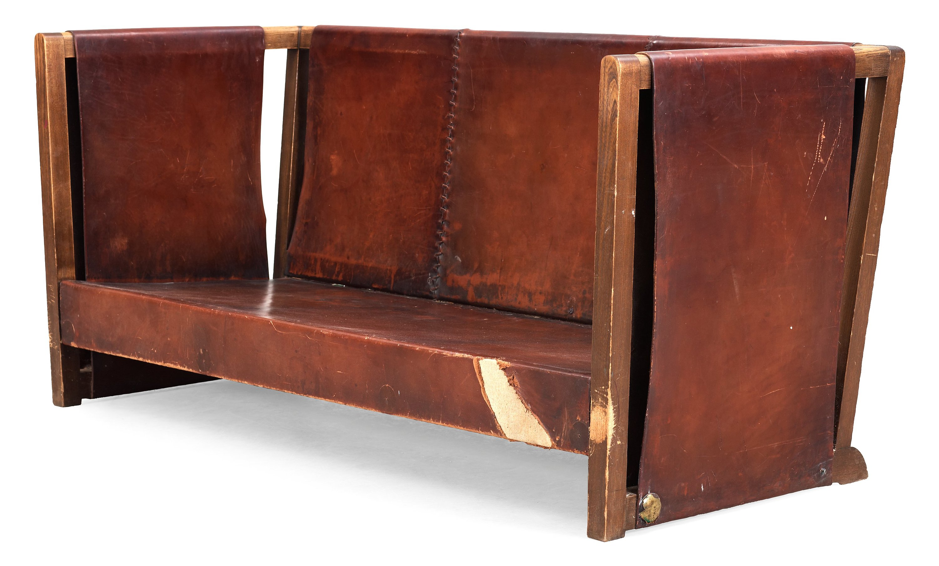 leather and wood sofa. 8609567 Bukobject Leather And Wood Sofa E