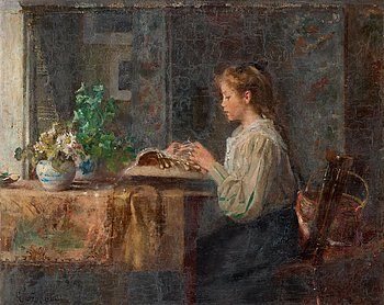 14. Emma Ekwall, Interior with lace-making girl.