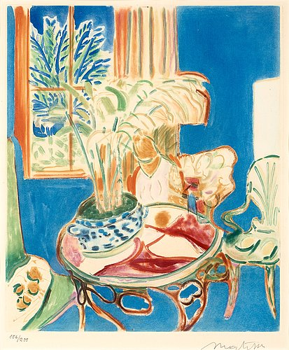 "Henri matisse (efter), ""petit intérieur bleu""."