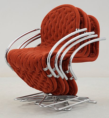 A set of four verner panton 'system 1-2-3 lounge deluxe' chairs, fritz hansen, denmark 1970's.