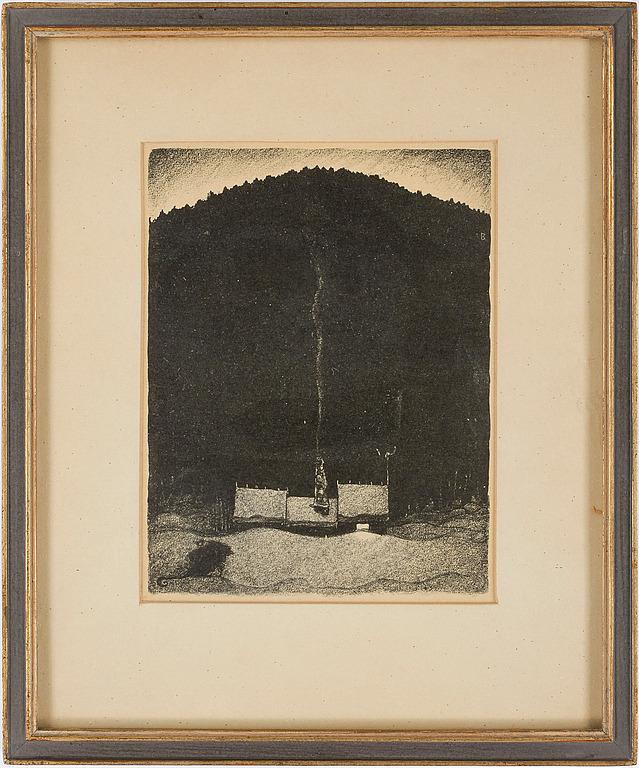 JOHN BAUER, litografi. Signerad JB i trycket.