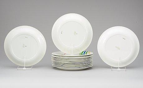 A stig lindberg set of 14 'löja' plates, gustavsberg 1948-62.