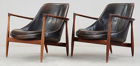 A pair of ib kofod larsen palisander and black leather 'elisabeth' easy chairs, christensen & larsen, denmark 1950-60's.