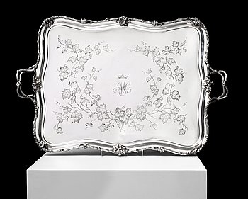 1097. A Russian mid 19th century silver tray, marks of Carl Tegelsten, St. Petersburg 1850.
