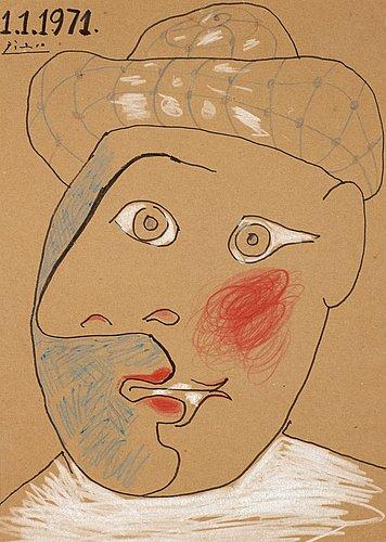 """Pablo picasso, """"tête de pierrot""""."""