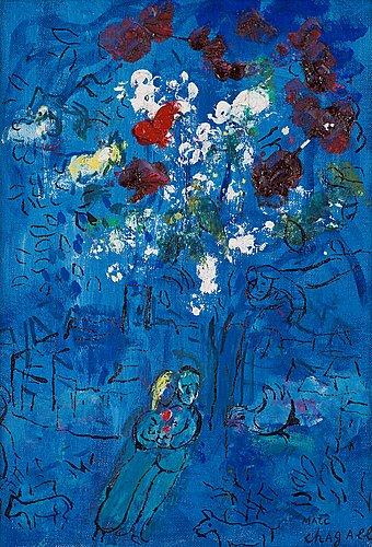 """Marc chagall, """"le bouquet au-dessus de vence""""."""