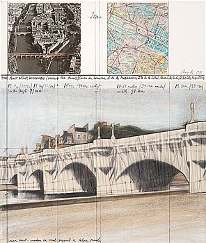 """463. Christo & Jeanne-Claude, """"The Pont Neuf, Wrapped (Project for Paris)""""."""