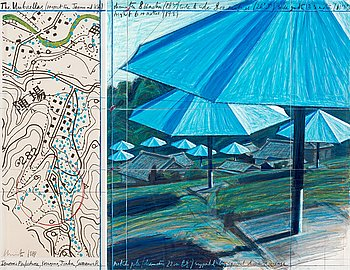 """466. Christo & Jeanne-Claude, """"The Umbrellas (Project for Japan and USA)""""."""