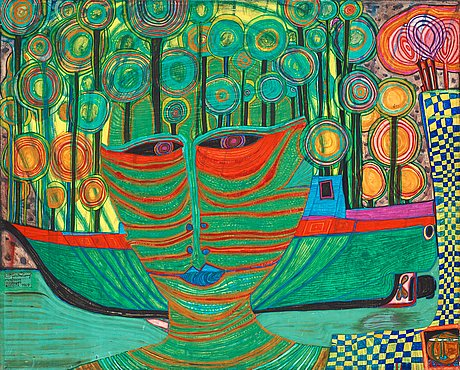 "Friedensreich hundertwasser, ""columbus landed in india""."