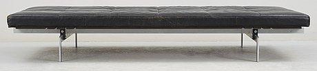 A poul kjaerholm black leather 'pk-80' daybed by e kold christensen, denmark.