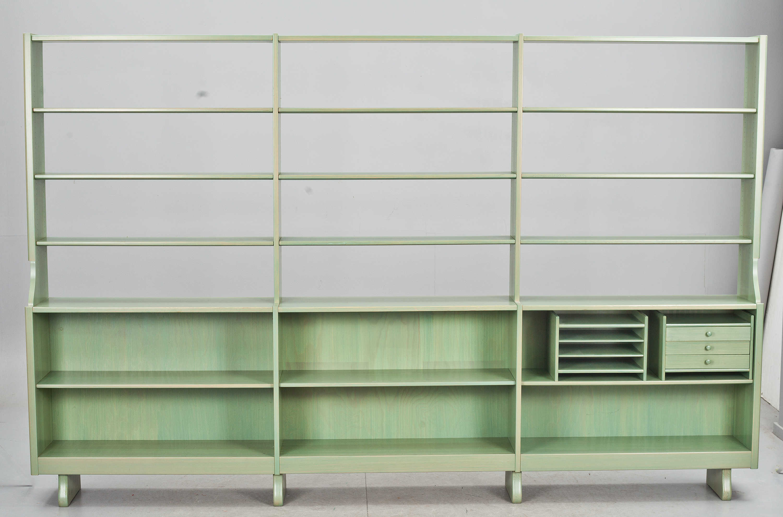 "BOKHYLLA, 3 sektioner,""Guldheden"", Carl Malmsten Furu Modellen formgiven 1945 Bukowskis"