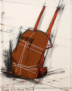"""198. Christo & Jeanne-Claude, """"Package on hand truck, project""""."""