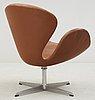 An arne jacobsen brown leather 'swan' chair, fritz hansen, denmark 1960's.