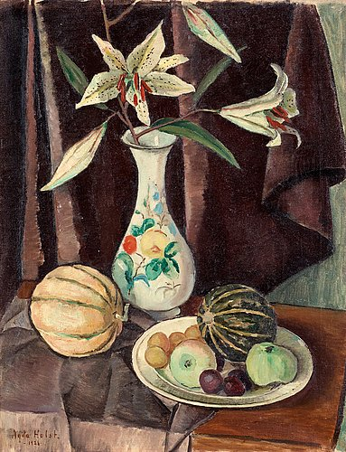 Agda holst, still life with fruits and flowers.