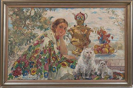 Ekaterina nikolaevna katshura-falileeva, at the samovar.