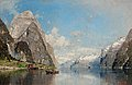 GEORG ANTON RASMUSSEN, VIEW OF A FJORD. Sig...