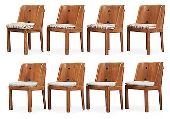 474. A set of eight Axel Einar Hjorth stained pine 'Lovö' chairs, Nordiska Kompaniet.