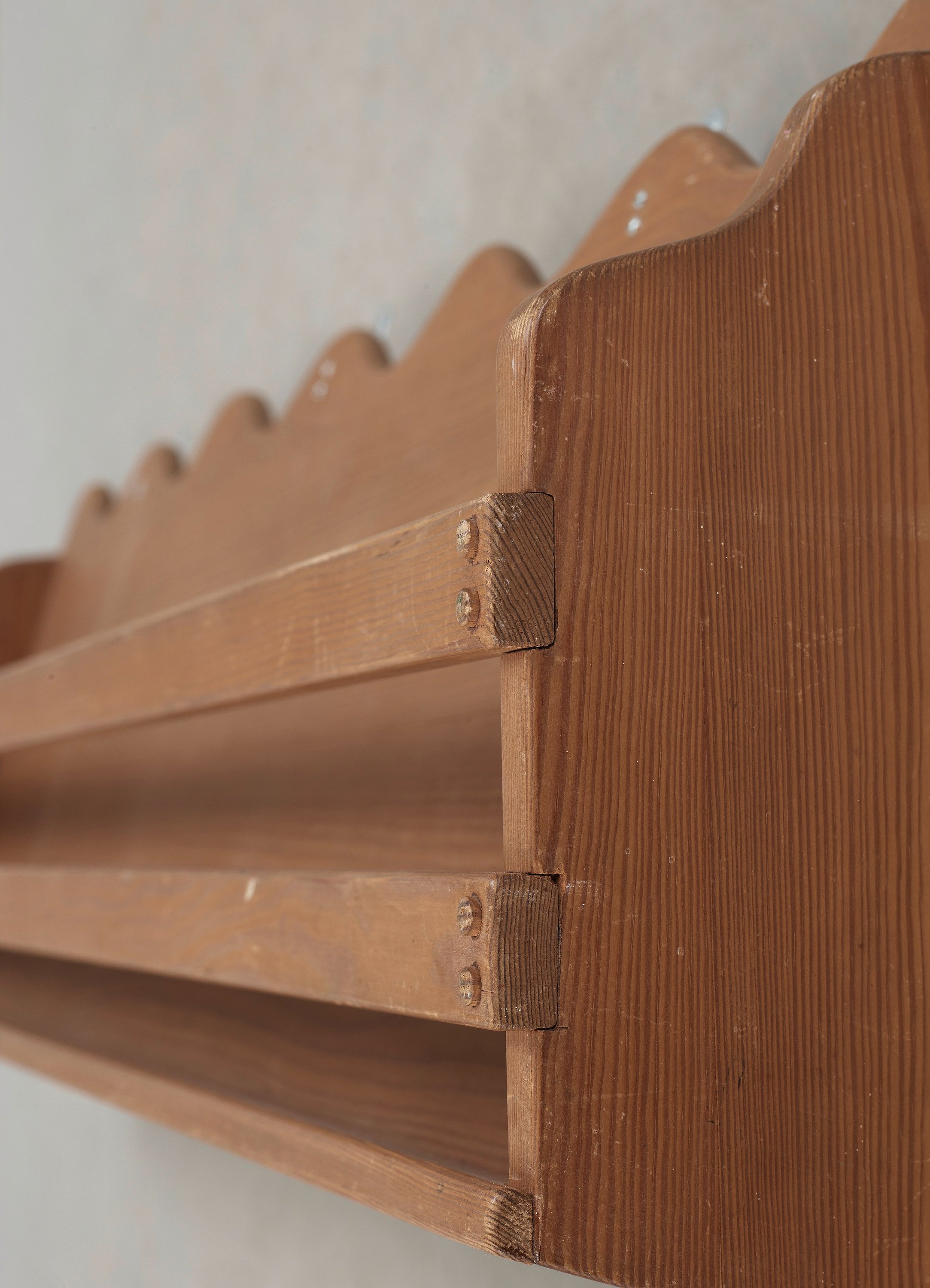 Wall To Wall Shelves a stained pine wall-shelf attributted to axel-einar hjorth