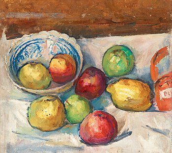 110. Isaac Grünewald, Fruits on white table cloth.