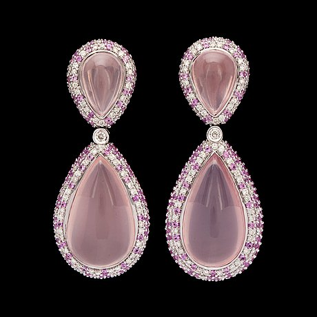 A pair of rose quartz, diamond 1.82 cts in total, and pink sapphire 3.94 cts in total, earrings.