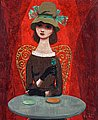 PELLE ÅBERG, Woman at the café. Signed Pell...