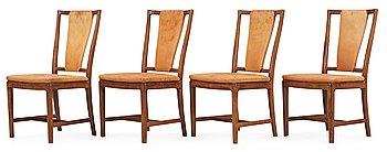 540. NORDISKA KOMPANIET, A set of four Carl-Axel Acking walnut and beige leather chairs, Nordiska Kompaniet (NK), ca 1947.