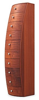 A Jonas Lindvall 'Belly Up' mahogany chest of drawers, for David Design, Sweden.