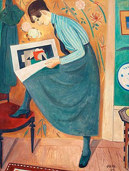 "EINAR JOLIN, ""Ung dam läsande konsttidskrift"" (Young woman reading art magazine)."