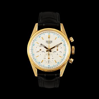 1219. Heuer (TAG Heuer) - Carrera 1964. Automatic. Chronograph. Gold / leather strap. Cert and Box. 35mm.
