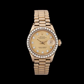 1232. Rolex - Datejust. Automatic. Gold / gold. Brilliant Ring. 26 mm.