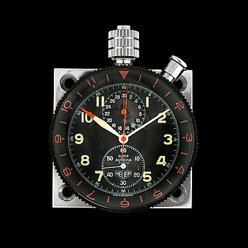 1225. Stopwatch. Heuer - Super Autavia. Manual winding. Steel. late 60's. The plate 58 mm x 58 mm. 56 mm. ref. 25972.