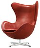 An arne jacobsen brown leather 'egg' chair, fritz hansen, denmark 2006.