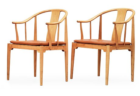 A pair of hans j wegner cherry and brown leather 'china chairs', fritz hansen, denmark 1988-89.