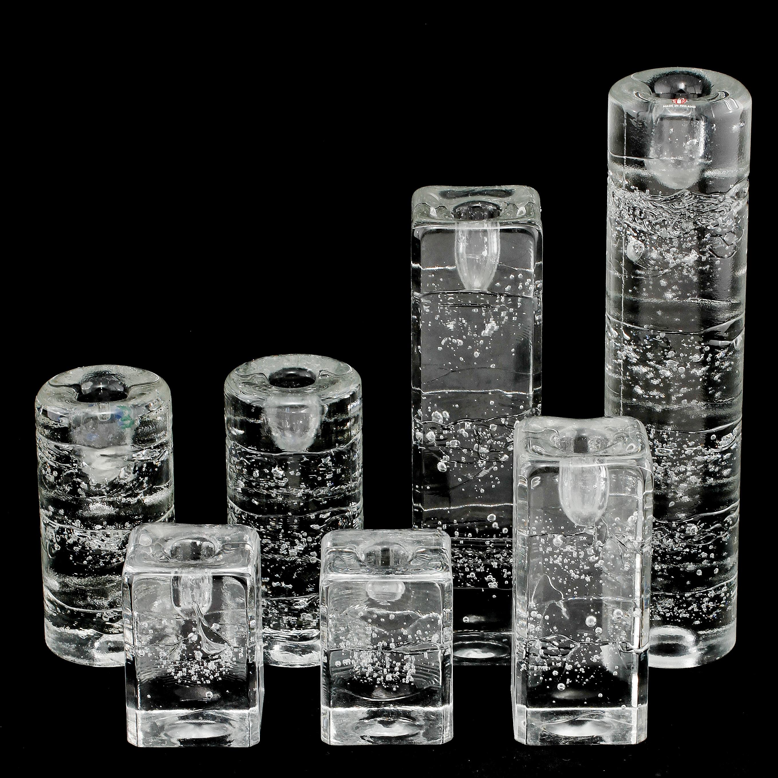 ljusstakar 7 st glas arktia timo sarpaneva iittala 1980 tal bukowskis. Black Bedroom Furniture Sets. Home Design Ideas