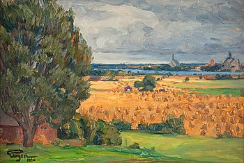 "7. PRINS EUGEN, ""Vadstena från Stubbet"" (View of Vadstena from the surrounding fields)."