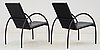A pair of jonas bohlin 'paris' black lacquered tubular steel and black leather easy chairs, lammhults, sweden 2000.